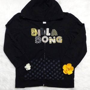 Billabong Black Zip-up Hoodie Jacket Girls XL